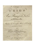 Title Page of Score for Set of Two Piano Trios, Written for Piano, Violin, and Cello, Opus 70 Giclee Print by Ludwig Van Beethoven