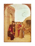 St Francis Speaking with Wolf of Gubbio, from Altarpiece of Holy Sepulchre, 1437-1444 Giclée-tryk af , Sassetta