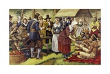 The First Thanksgiving in 1621, a Year after the Pilgrim Fathers Had Left the Old World Giclee Print by Mike White