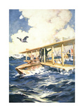"""With Our Seaplane in the North Sea, a Carrier to the Rescue"", from 'The Sphere', 1918 Giclee Print by William Edward Wigfull"