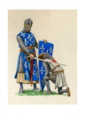 Prince Richard, the Future Richard the Lionheart, Being Knighted by King Louis of France Giclee Print by Peter Jackson