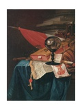 Vanitas Still Life with the Artist at His Easel Reflected in a Crystal Ball Giclée-Druck von Vincent Laurensz van der Vinne