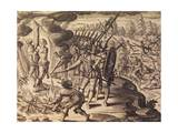 Conquistadors Condemning the Natives at the Stake for Refusing to Convert to Catholicism Giclee Print by Theodor de Bry