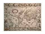 "World Map: ""Nova Totius Terrarum Orbis Geographica Ac Hydrographica Tabula"", 1608 Giclee Print by Pieter van den Keere"