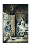 Esmeralda and Quasimodo, Watercolor by Theophile Gautier Giclee Print by Victor Hugo