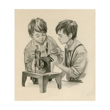 The Wright Brothers as Boys, Dropping Water into the Sewing Matchine with a Feather Giclee Print by Peter Jackson