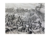 Clash Between Native Indians and Spanish Troops, Engraving from Historia Americae Giclee Print by Theodor de Bry