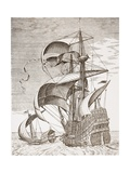 Armed Three-Master on the Open Sea Accompanied by a Galley from 'The Sailing Vessels' Giclee Print by Pieter the Elder Bruegel