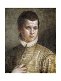 Portrait of a Young Man, Bust-Length, Wearing a Striped Costume and a White Ruff Giclee Print by Paolo Caliari
