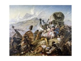 The Zulu Natives Attacking Boer Caravan at Blauwkrantz, February 6, 1838 Giclee Print by Thomas Baines