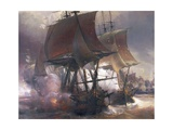 Naval Battle of Ouessant Between French and British Fleets, July 27, 1778 Giclee Print by Theodore Gudin