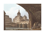 View of the Pont-Au-Change, the Tour De L'Horloge and the Conciergerie, C.1805 Giclee Print by John Claude Nattes