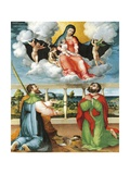 Madonna in Glory with Saints Cosmas and Damian in Adoration, 1535 Giclee Print by Lorenzo Lotto