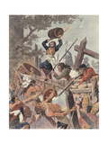Adam Dollard and His Companions Fighting the Iroquois at the Battle of Long Sault, Canada, 1660 Giclee Print by Louis Charles Bombled