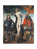 St Sebastian, St Rocco and St Giorgio, Reverse Side of the Processional Banner of Orzinuovi Giclee Print by Vincenzo Foppa