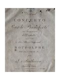 Title Page of Score for Concerto for Piano and Orchestra No 5, Opus 73 Giclee Print by Ludwig Van Beethoven