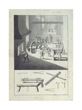 Manufacture of Cannons, Drawing for the 'Description Des Arts Et Métiers' Giclee Print by Louis Bretez