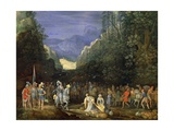 Painting of Mountain Landscape with Return of Jephthah Giclee Print by Pieter Schoubroeck