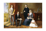 The Reverend John Witherington, Vicar of Tetsworth, Oxon, with His Family, 1854 Giclee Print by John Bridges