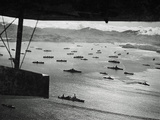 Adak Harbor in the Aleutian Islands with Part of a Huge U.S. Fleet at Anchor Photographic Print