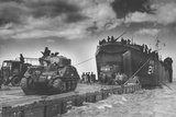 "The U.S. Coast Guard Manned USS LST-21 Unloads British Army Tanks and Trucks onto a ""Rhino"" Barge Photographic Print"