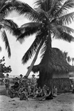 Young Women in Polynesian-Flapper Costumes Lounge under a Coconut Palm Photographic Print