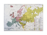 Map Showing the Spread of the Indo-European Languages in Europe Giclee Print