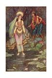 Shantanu Meets the Goddess Ganga Giclee Print by Warwick Goble