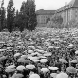 Demonstration Against the Construction of the Berlin Wall Outside Schoeneberg Town Hall Photographic Print