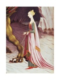 Woman Prisoner of Dragon, Detail from St George and Dragon Gicléetryck av Paolo Uccello