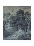 Wooded Landscape with Cottage, Peasant, Cows and Sheep, and Cart Travelling Down a Slope, 1777-78 Giclee Print by Thomas Gainsborough