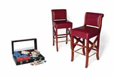 Two Prop Wooden Bar Stools with Dark Red Faux Leather Seat and Back Photographic Print
