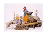 Washerwomen, from the Costumes of Great Britain, Pub. by Henry Miller, 1805 Giclee Print by William Henry Pyne