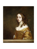 Portrait of a Lady of the Popham Family, Half-Length, Behind a Casement, Wearing an Orange Dress Giclee Print by Sir Peter Lely
