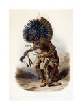 Pehriska-Rupha: Moennitarri Warrior in the Costume of the Dog Danse, 1839-1841 Giclee Print by Karl Bodmer