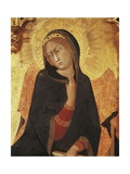 Figure of Mary, Detail of the Annunciation with St Ansano and St Massima, 1333 Giclée-tryk af Simone Martini