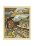 A Woman Standing with a Group of Children on a Platform at Portland Road Railway Station Giclee Print by Thomas Crane