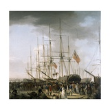 Cavalry Embarking at Blackwall, Near Greenwich, April 24, 1793 Giclee Print by William Anderson