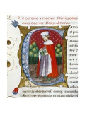 Initial Letter C Depicting Marcus Porcius Cato Uticensis, Cato the Younger Giclee Print by Pietro Candido Decembrio