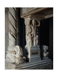 Charity and Twisted Column, Detail of Tomb of Catherine of Austria, 1323 Ca Giclee Print by Tino da Camaino