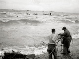 Three Engineers Prepare a Rope to Support a Shipwrecked Soldier Near Omaha Beach Photographic Print