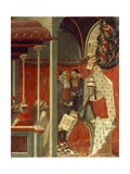 Honorius III Approving Carmelite Rule, Detail from Predella of Altarpiece for the Carmine Giclée-tryk af Pietro Lorenzetti