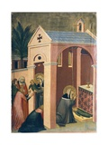Blessed Resuscitates Son of Gentleman, Tile from Altarpiece of Blessed Humility Giclée-tryk af Pietro Lorenzetti