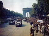 Crowds of French Patriots Line the Champs Elysees to View Allied Tanks and Half Tracks Photographic Print