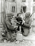 Two American Soldiers from the U.S. Corps of Engineers with a Little Girl and a Puppy Photographic Print