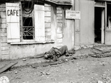 A German Soldier Lying Dead on a Sidewalk in Front of the Old Coffee Etasse Photographic Print