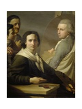 Self-Portrait of Painter with His Brother Agostino as He Is Painting Bernardino Nocchi's Portrait Giclee Print by Stefano Tofanelli