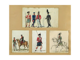 The Uniforms of Scottish Soldiers and Prussian, English, Hanoverian and Russian Officers in 1814 Giclee Print by Pierre Antoine Lesueur