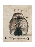 Vasco Da Gama's Caravel, Illustration from 'Memorias Das Armadas...', C.1568 Giclee Print