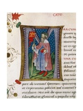 Initial Letter M Depicting Marcus Porcius Cato the Censor, Cato the Elder Giclee Print by Pietro Candido Decembrio